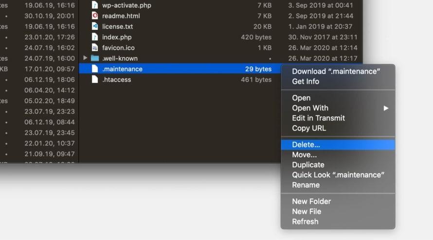 Löschen der .maintenance-Datei in WordPress Dateien