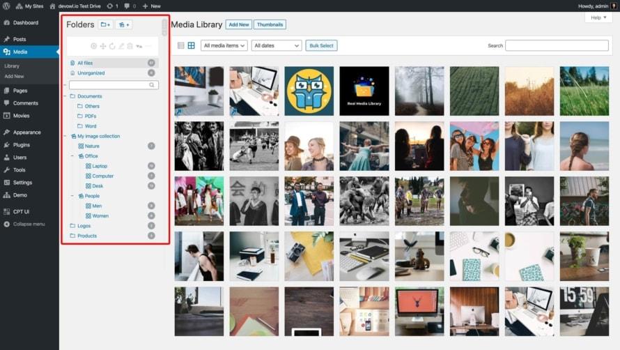 Organisiere deine Uploads mit Ordnern in der neuen Seitenleiste in deiner Mediathek
