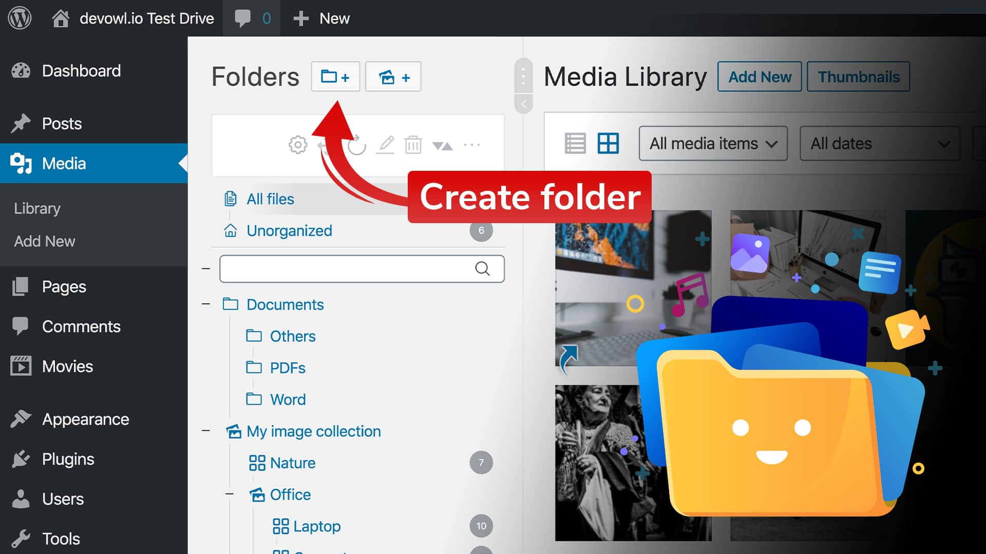 Create folders in your WordPress media library