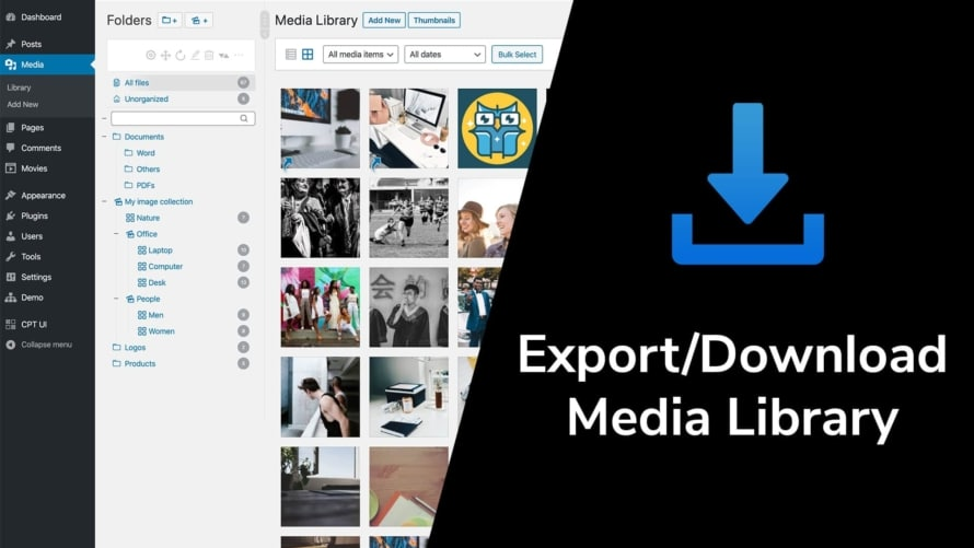 Export or download the media library in WordPress