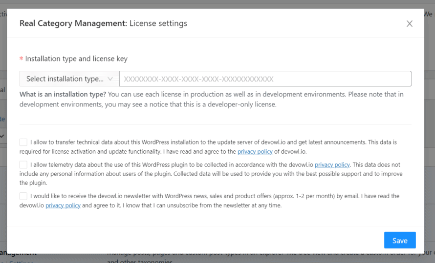 License settings in Real Category Management