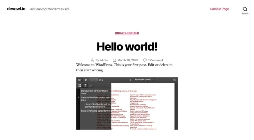 PDF-Dokument in deiner WordPress Website eingebettet