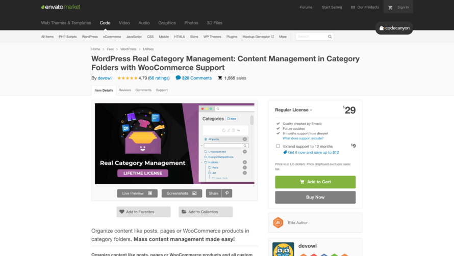 Real Category Management at codecanyon.net