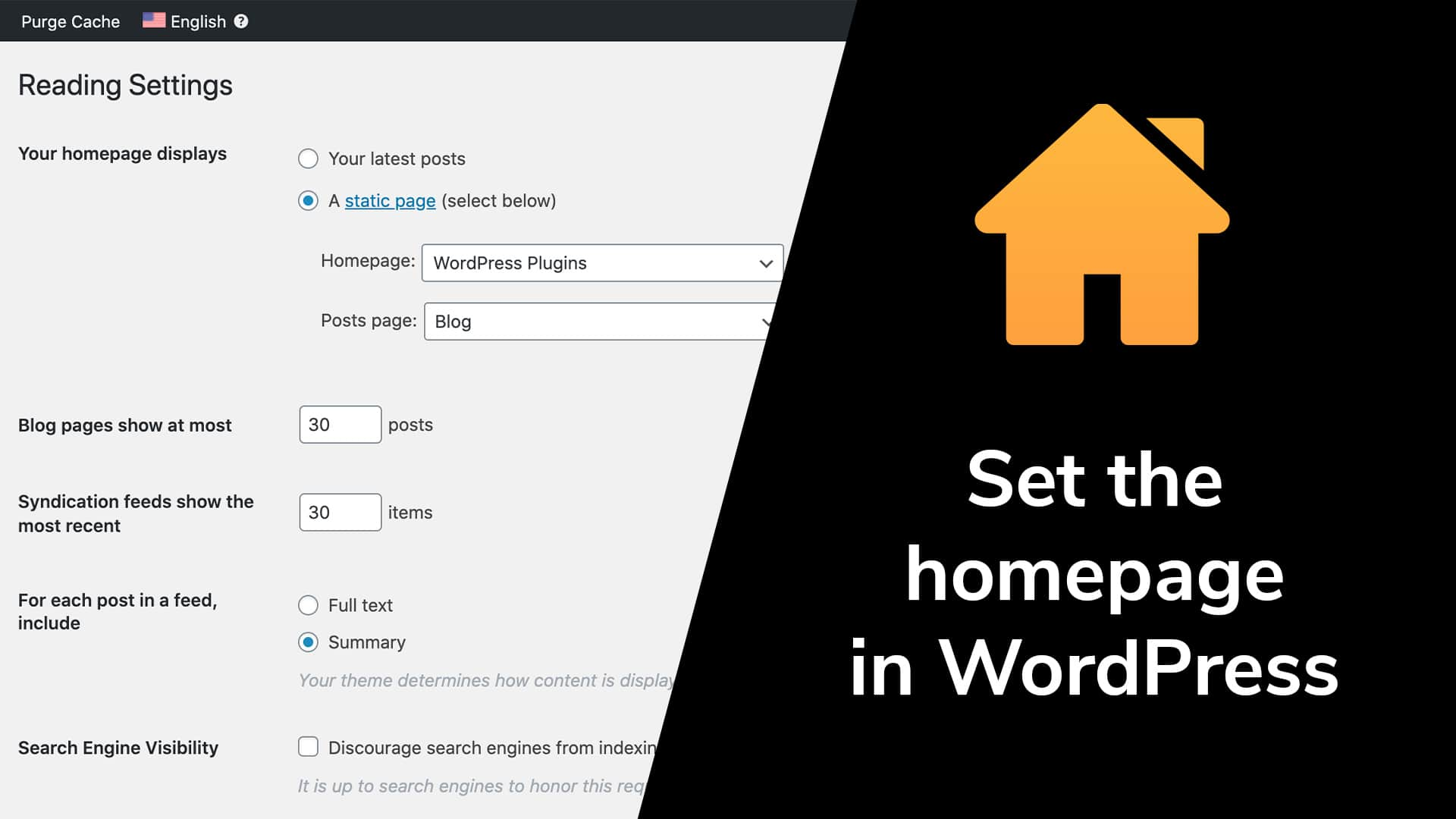 Set the homepage in WordPress
