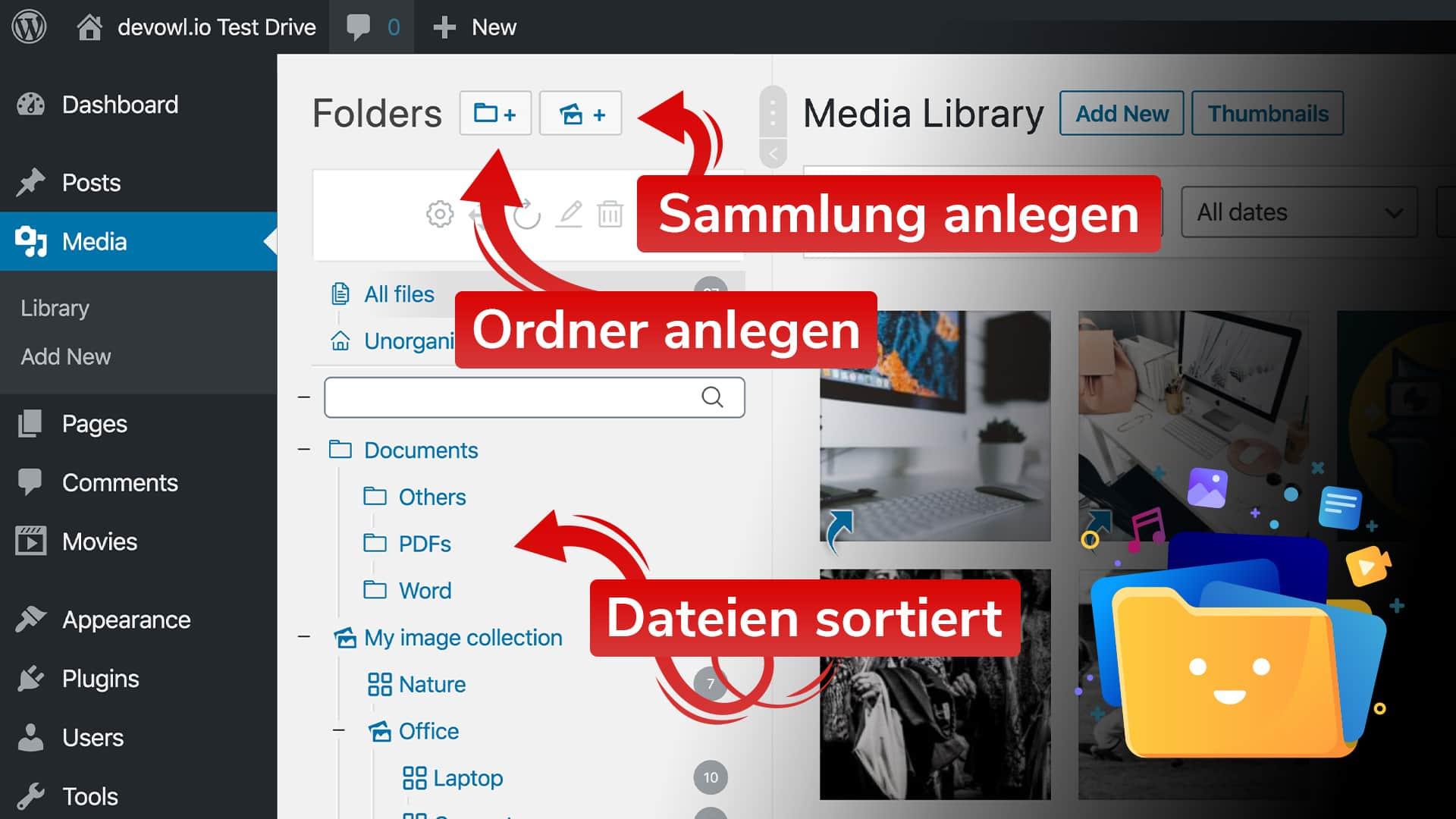 Ordner erstellen, Sammlungen hinzufügen und Uploads organisieren
