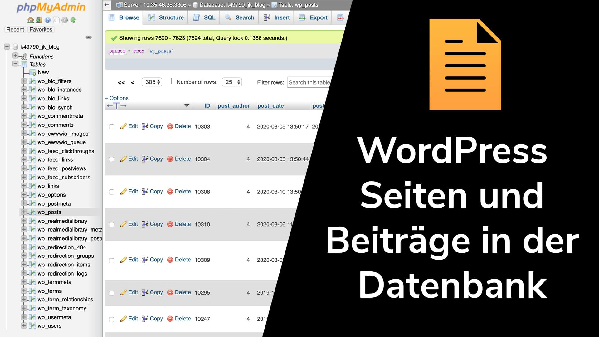 Wordpress-Seiten und -Beiträge in der Datenbank