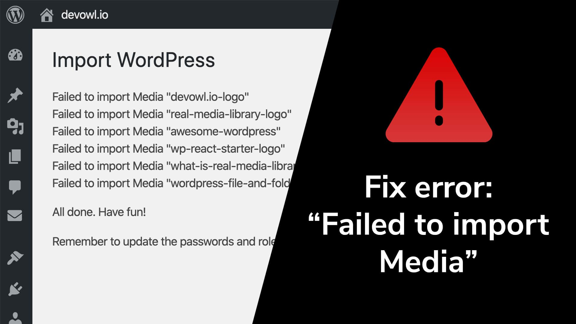 WordPress error – failed to import media