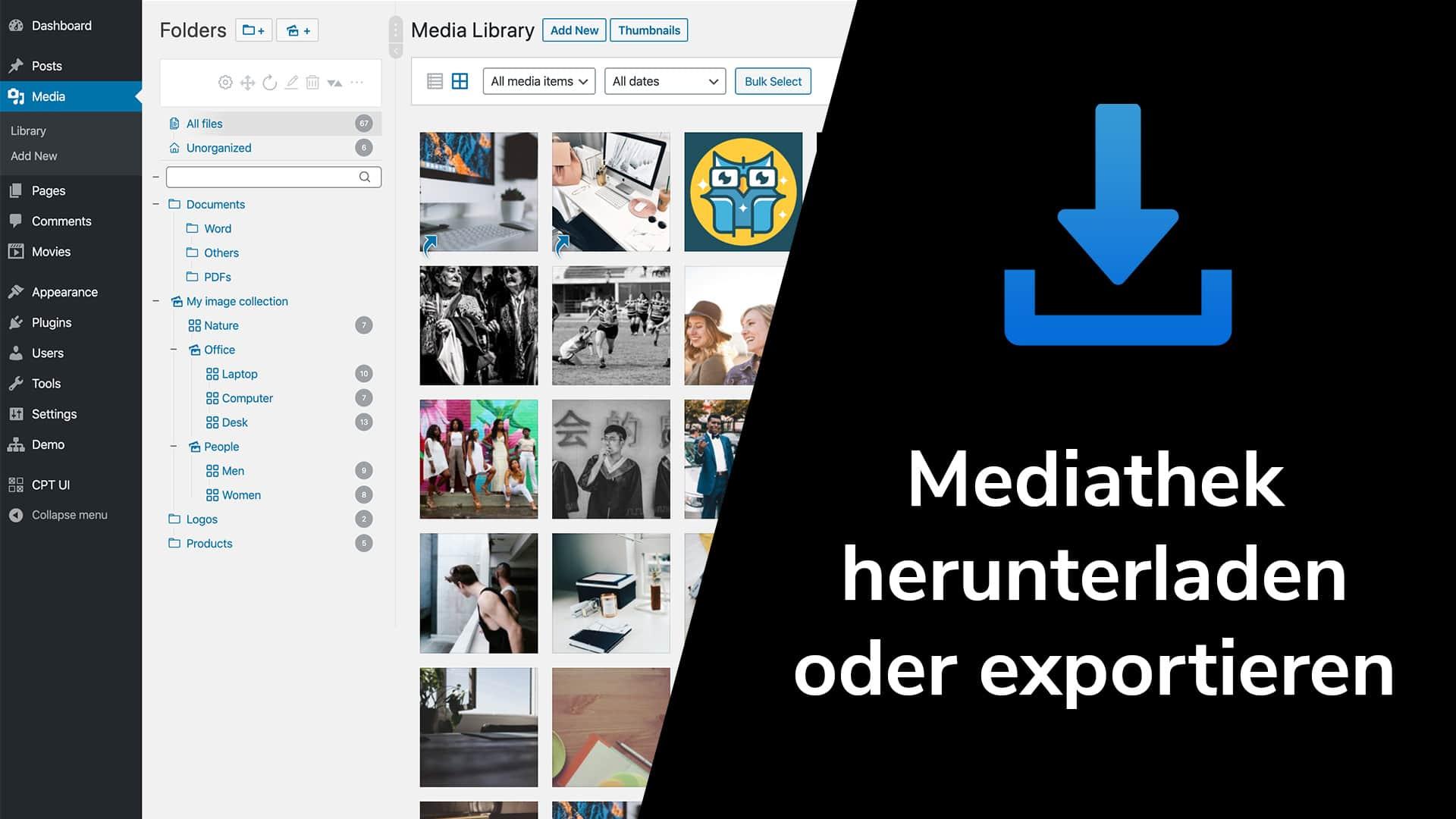 Exportiere oder lade die Medienbibliothek in WordPress herunter
