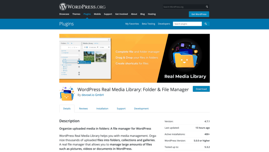 WordPress Real Media Library on wordpress.org