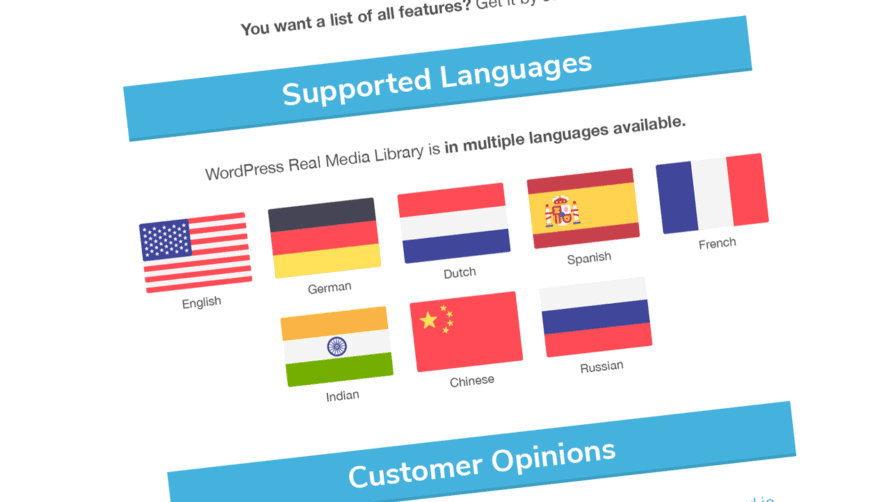 WordPress Real Media Library v4.6: Translation in eight languages