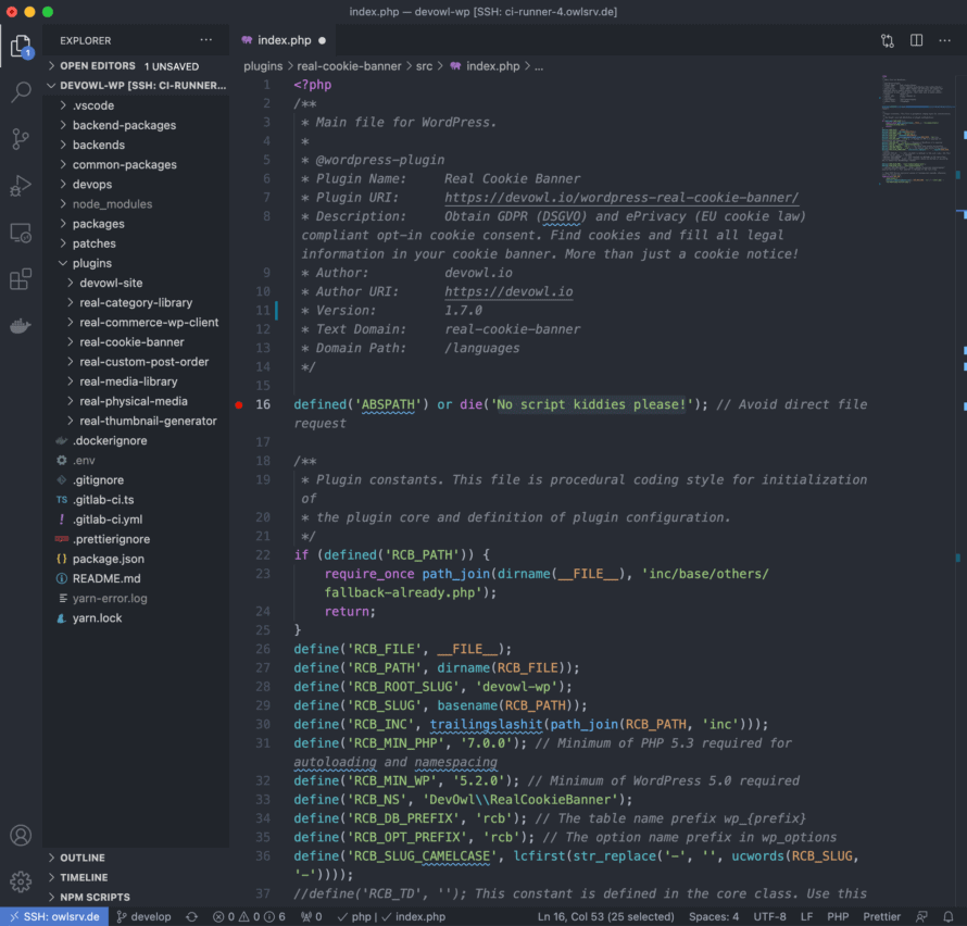 Screenshot for WP React Starter instance in Visual Studio Code