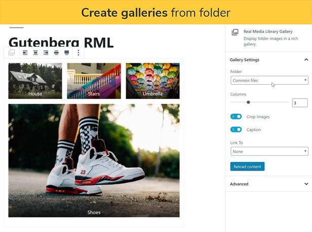 Crie galerias a partir da pasta: Crie uma galeria com as imagens de uma pasta da galeria no editor de Gutenberg