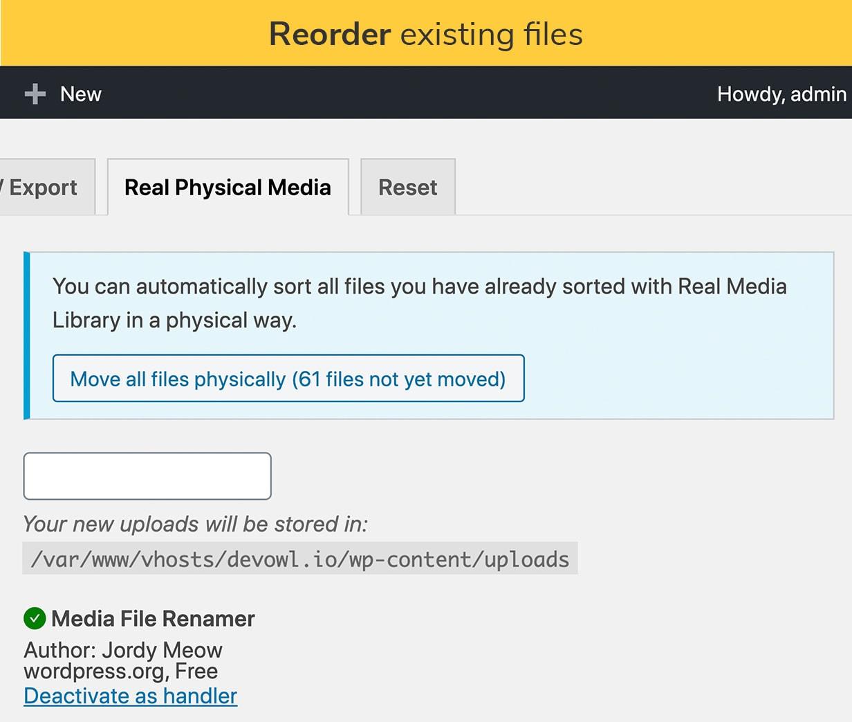 Reordenar arquivos existentes