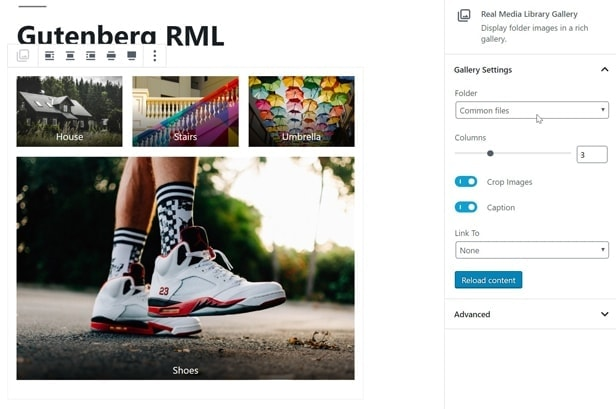 Real Media Library creates galleries from folder as a Gutenberg block
