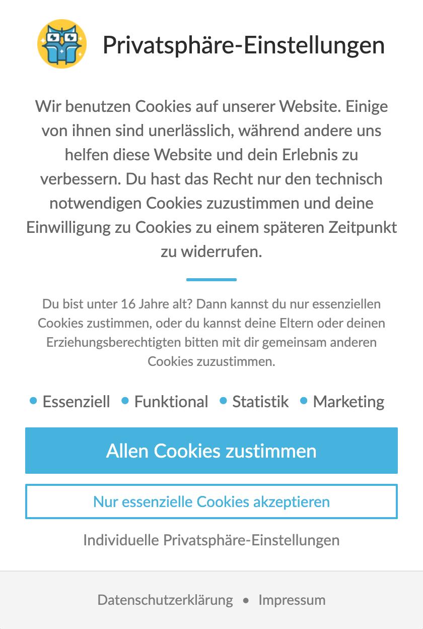 Cookie Banner Beispiel