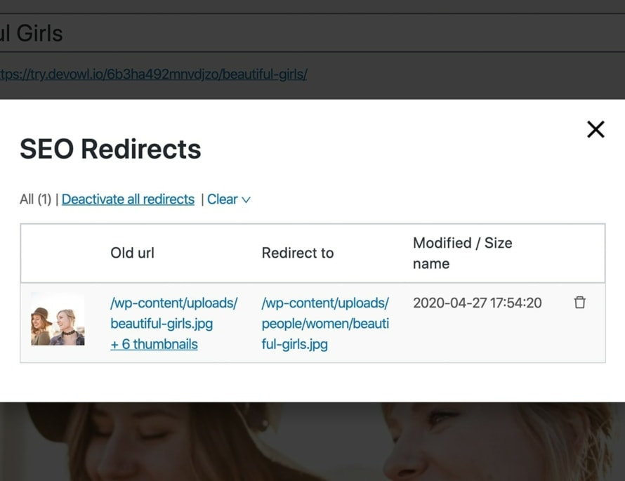 Redirect old file paths for SEO